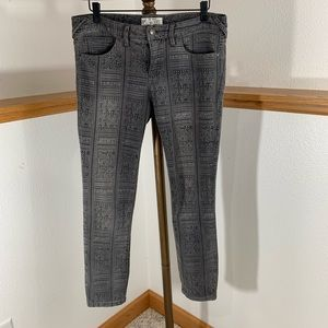 Gray Tribal Print Free People Jeans W29
